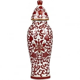 RUSSET Oriental style red patterned ceramic ginger jar