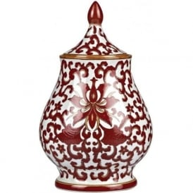 RUSSET small ornamental ceramic jar with red Oriental pattern