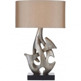 SABRE modern sculptured table lamp in antique silver finish with faux silk shade