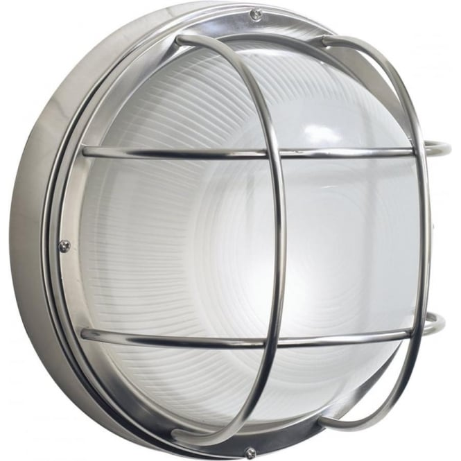 Fitting Outside Wall Lights : Circular Stainless Steel Garden Wall Light, Nautical Bulkhead Style