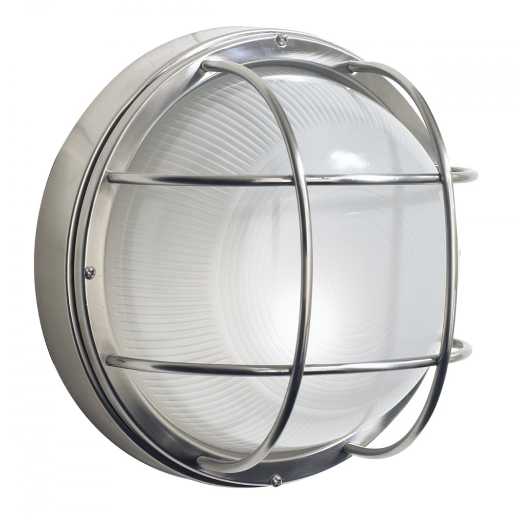 Circular stainless steel garden wall light nautical bulkhead style for Round exterior lights