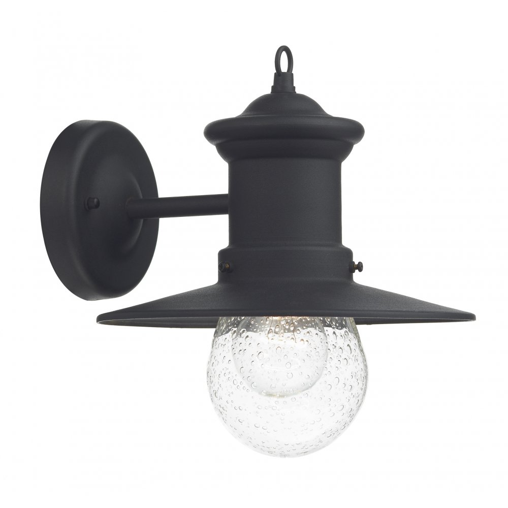 Traditonal Black Garden Wall Lantern, Fisherman Style with Seeded Glass