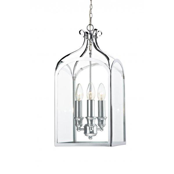 senator hall hanging lantern light in chrome with clear
