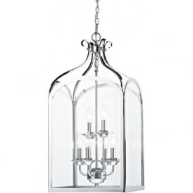 SENATOR large chrome hall lantern for high ceilings