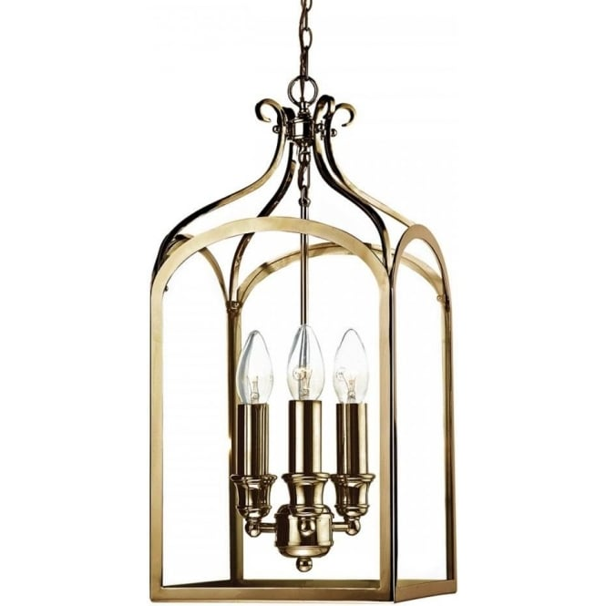 Balmoral Tall Pedestal Lantern Light Antique Brass: 3 Light Hall Lantern On Chain In Antique Brass With Clear