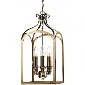 SENATOR traditional antique brass hanging hall lantern