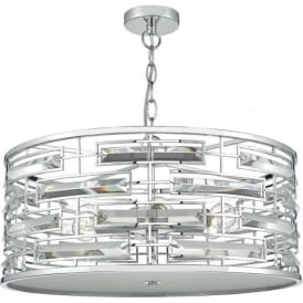 SEVILLE double insulated mid-century chrome ceiling pendant with crystal