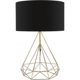 SWORD copper wire table lamp with black cotton shade