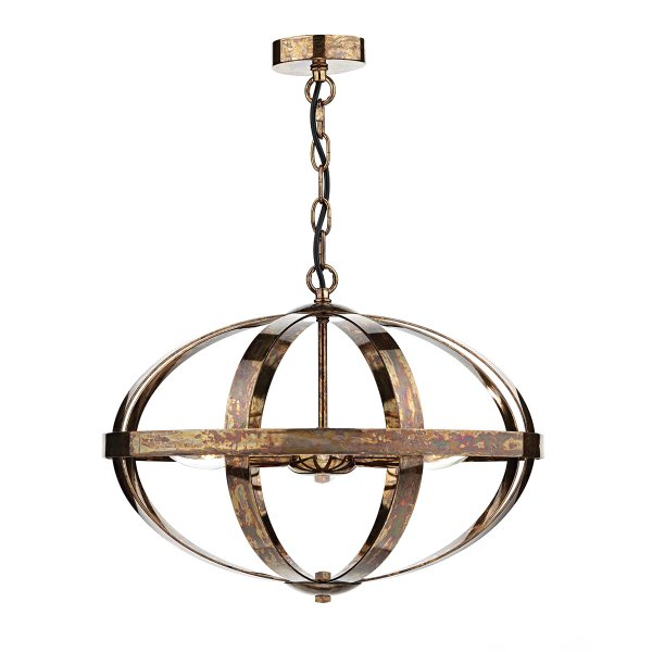 Copper Open Frame Ceiling Pendant Light On Long Drop Chain