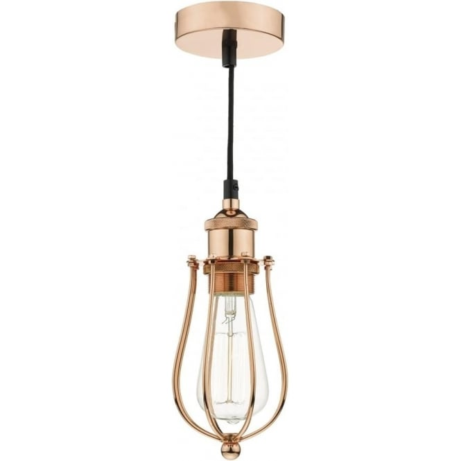 Copper Industrial Style Ceiling Pendant Light On Black