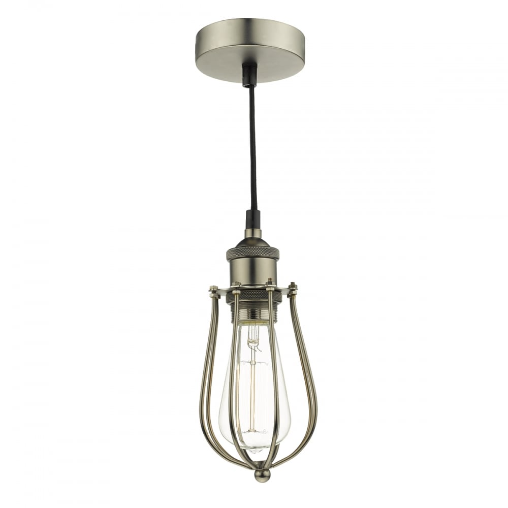 Pewter Metal Cage Ceiling Pendant Light With Black Fabric