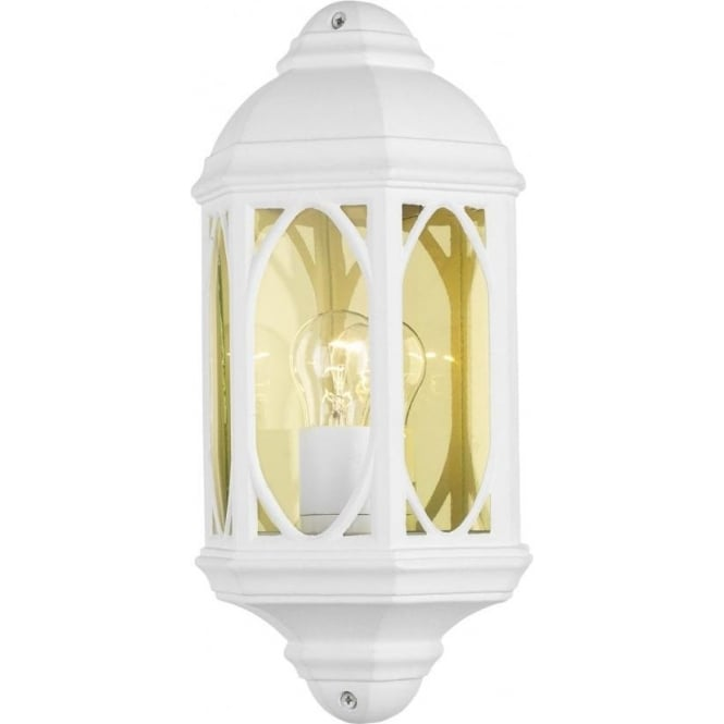 White Outdoor Garden Wall Light, Traditional Design in White Aluminium