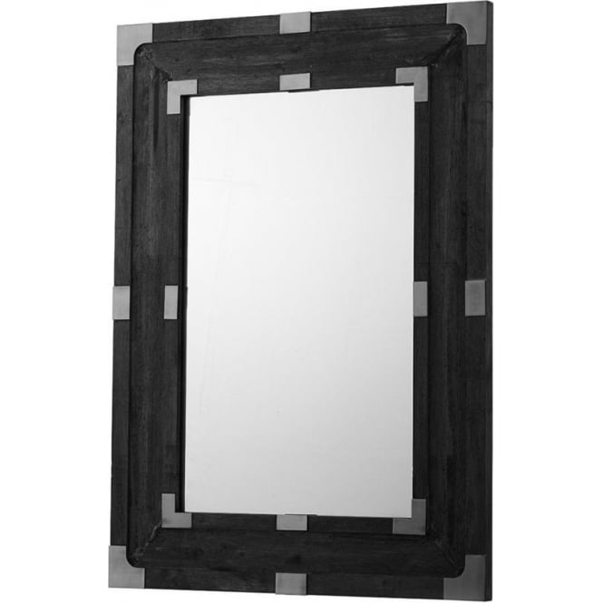 Dark Wooden Framed Rustic Mirror with Copper Detailing
