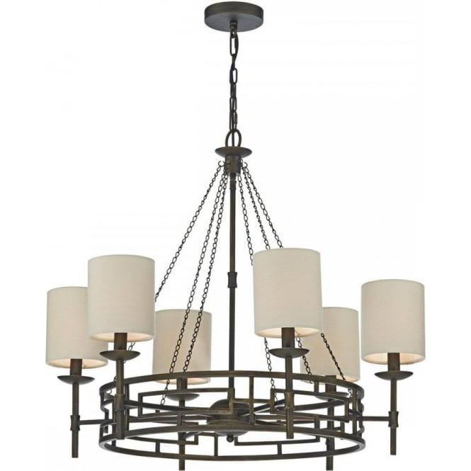 Long Drop Medieval Style Cartwheel Chandelier With Bronze