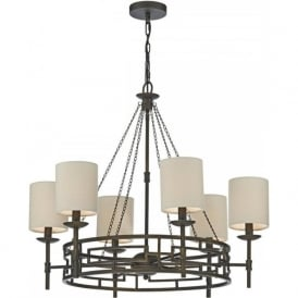 TODD Medieval inspired 6 light chandelier with linen shades