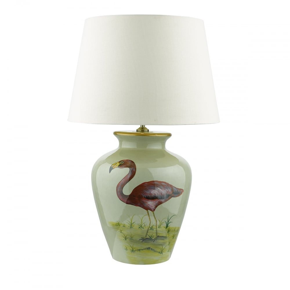 Chinese ginger jar table lamp green ceramic with bold flamingo design topeka oriental ginger jar table lamp with hand finished flamigo pattern geotapseo Gallery