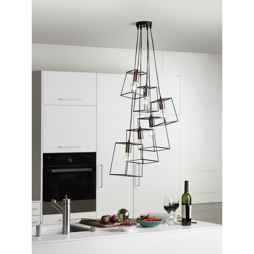 Home shop by era edwardian lighting monaghan lighting monaghan - Tower Cluster Ceiling Pendant Light With Open Frame Black Shades