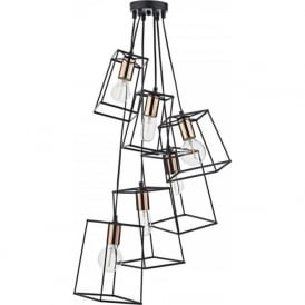 TOWER cluster ceiling pendant light with open frame black shades