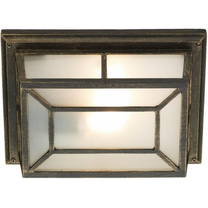 Rustic black gold garden wall or porch light with frosted glass trent traditional outdoor wall or ceiling light in rustic black gold finish mozeypictures Gallery