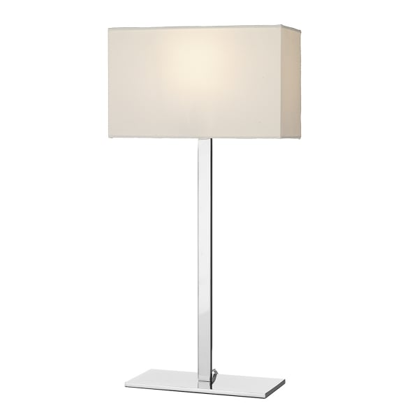 modern chrome table lamp and rectangular ivory cotton shade. Black Bedroom Furniture Sets. Home Design Ideas
