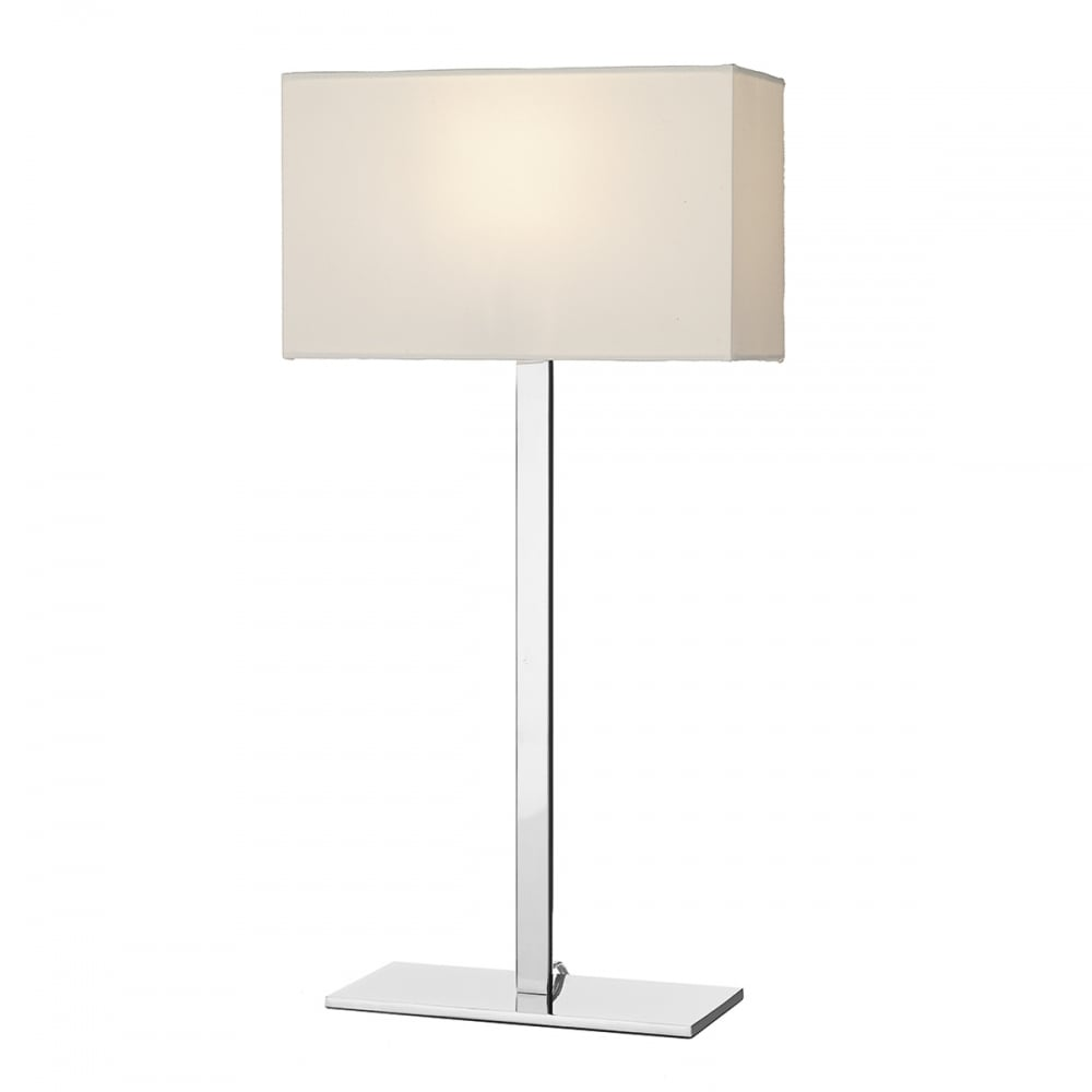 Modern Chrome Table Lamp And Rectangular Ivory Cotton Shade