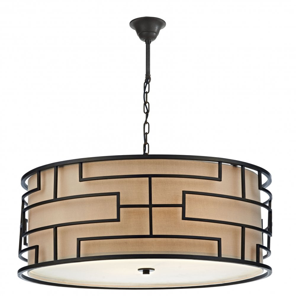 Tumola art deco ceiling light with bronze geometric drum shade
