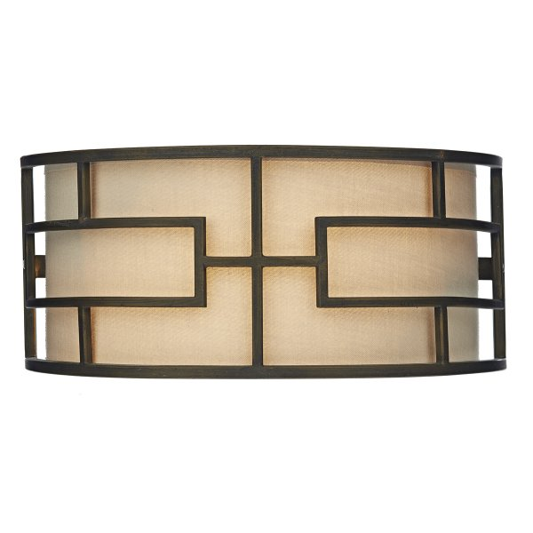 Art deco wall washer light geometric bronze frame with taupe shade - Deco taupe ...