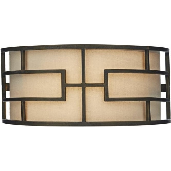 Cambridge Lighting TUMOLA Art Deco wall washer wall light, taupe shade with bronze surround