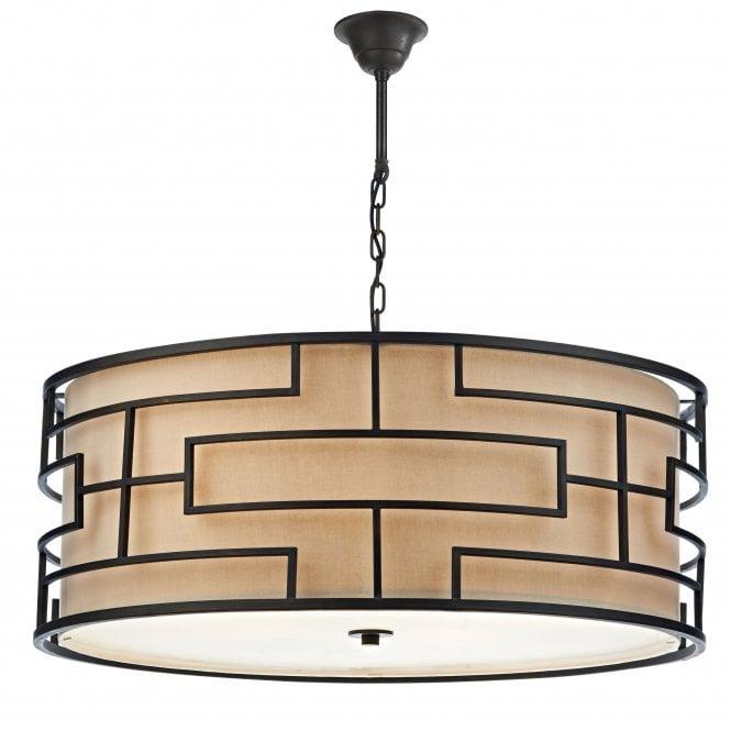Art Deco Lamp Shades: Large Art Deco Drum Pendant Ceiling Light, Bronze With