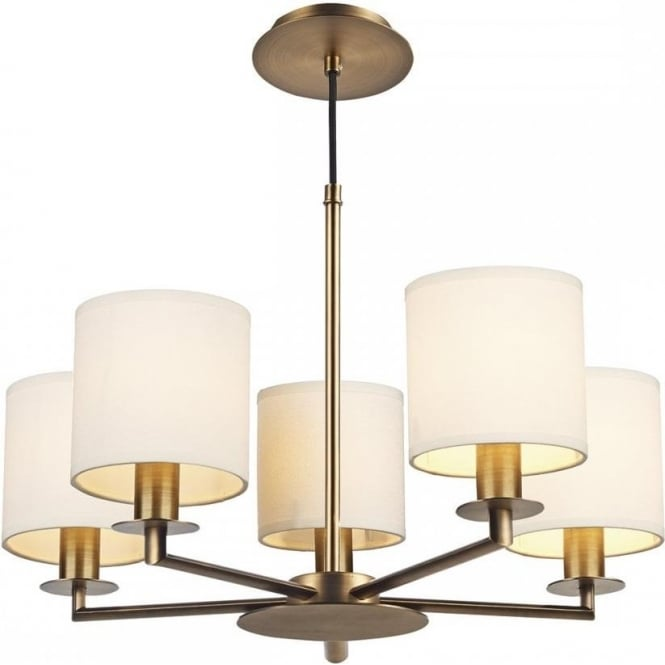 Bronze ceiling light in mid century design with cream cotton shades tyler 5 arm warm bronze ceiling light with cream cotton shades aloadofball Gallery