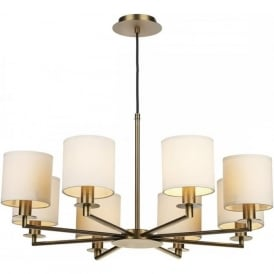 TYLER 8 arm warm bronze ceiling light with cream cotton shades