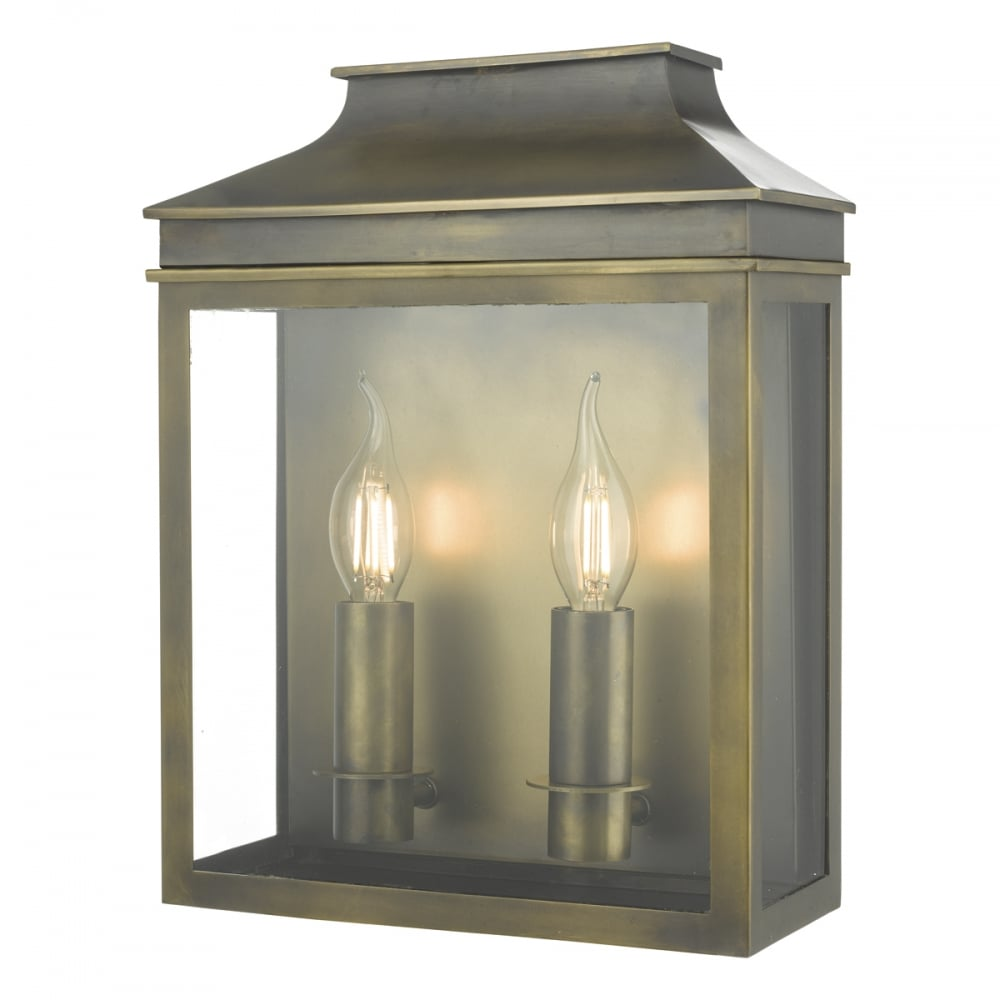 Weathered Brass Outdoor Garden Wall Coach Lantern With Two