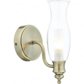 VESTRY traditional oil lamp style bathroom wall light - antique brass