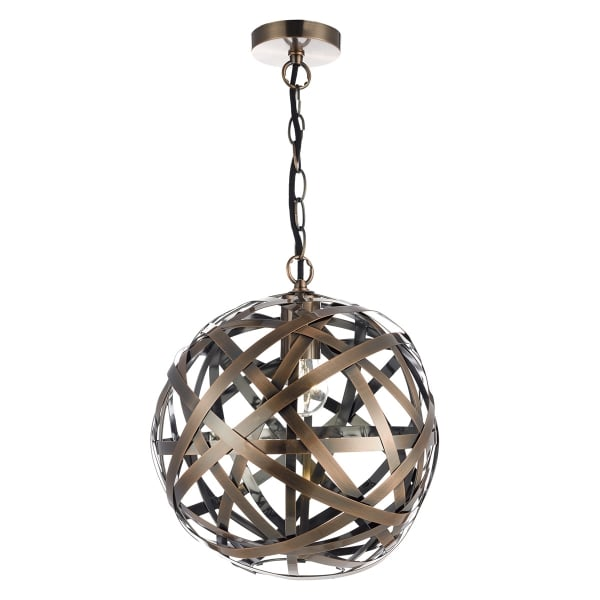 Open Frame Hanging Ball Pendant Light With Interwoven