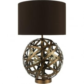 VOYAGE antique copper ball table lamp with brown shade