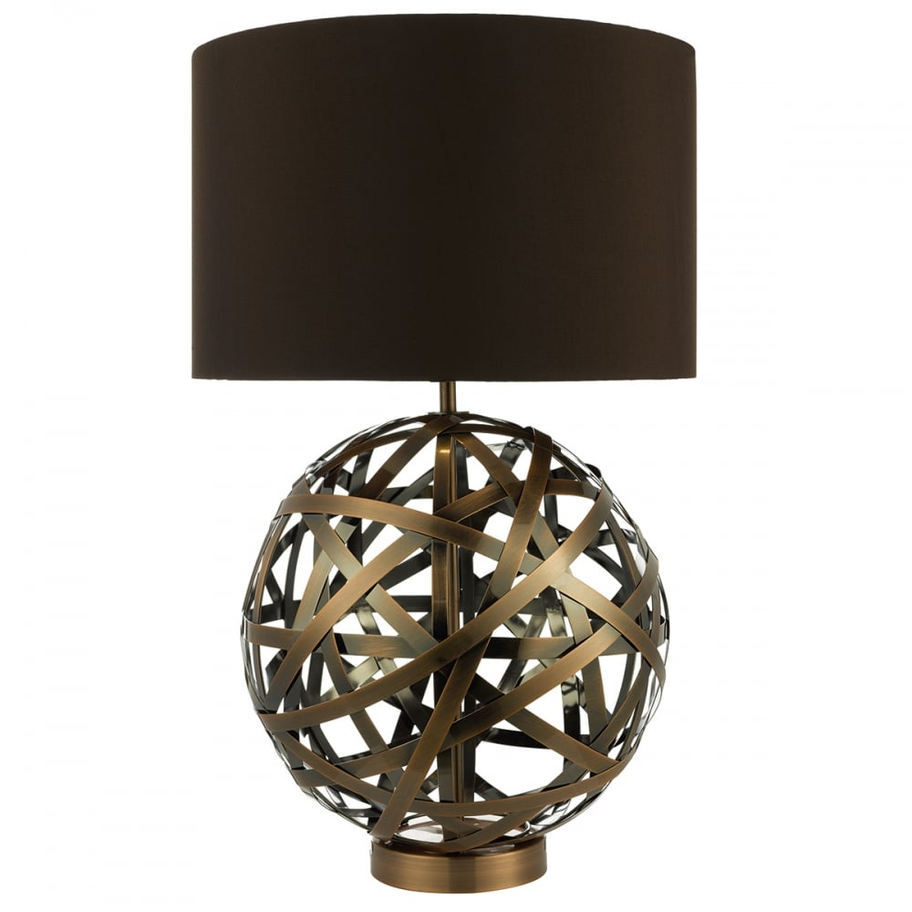Table Lamp With Open Globe Copper Base And Rich Brown Faux