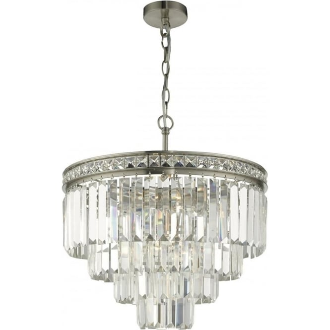 Nickel Waterfall Chandelier with Cascading Layers of Faceted Crystal