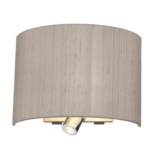 Modern hotel style wall light with taupe silk shade and book light - Wall taupe ...