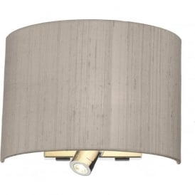 WETZLAR curved taupe silk wall light with LED book reading light