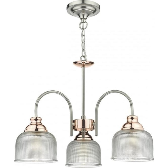 Cambridge Lighting WHARFDALE 3 arm ceiling light in satin chrome and copper with textured prismatic glass shades