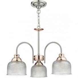 WHARFDALE 3 arm ceiling light in satin chrome and copper with textured prismatic glass shades