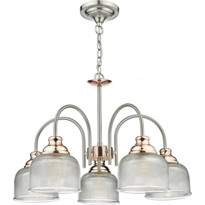 Class 2 double insulated 5 arm ceiling light in chrome and copper wharfdale 5 arm ceiling light in satin chrome and copper with textured prismatic glass shades aloadofball Image collections
