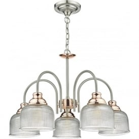 WHARFDALE 5 arm ceiling light in satin chrome and copper with textured prismatic glass shades
