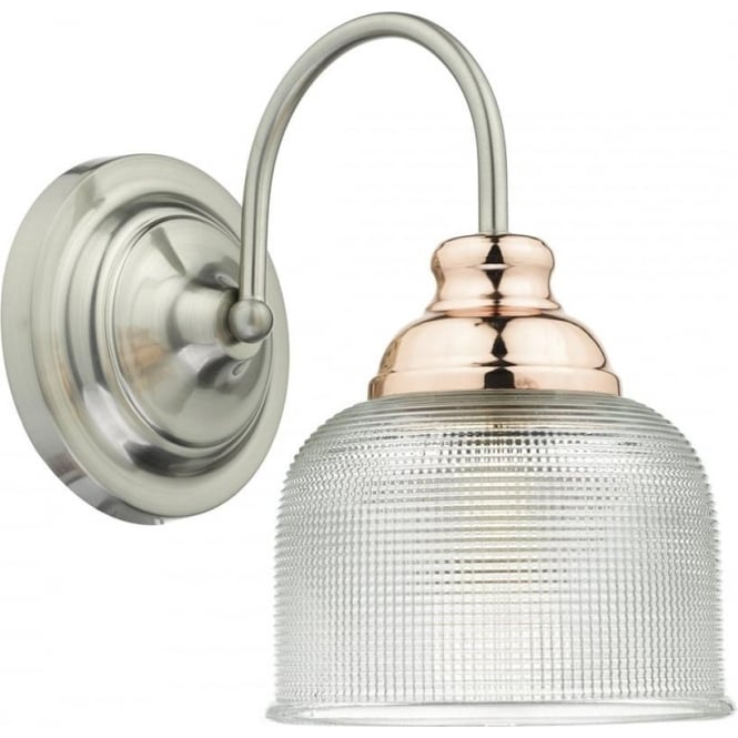 Cambridge Lighting WHARFDALE single wall light in satin chrome and copper with textured prismatic glass shade