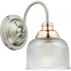 WHARFDALE single wall light in satin chrome and copper with textured prismatic glass shade