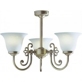 WOODSTOCK traditional Victorian low ceiling light with scavo glass shades