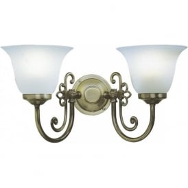 WOODSTOCK Victorian style twin wall light with glass shades