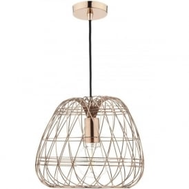 WOVEN ceiling pendant light with open copper wire frame