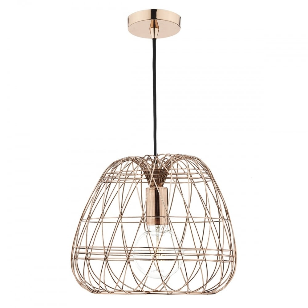 Contemporary Ceiling Pendant Light With Geometric Copper