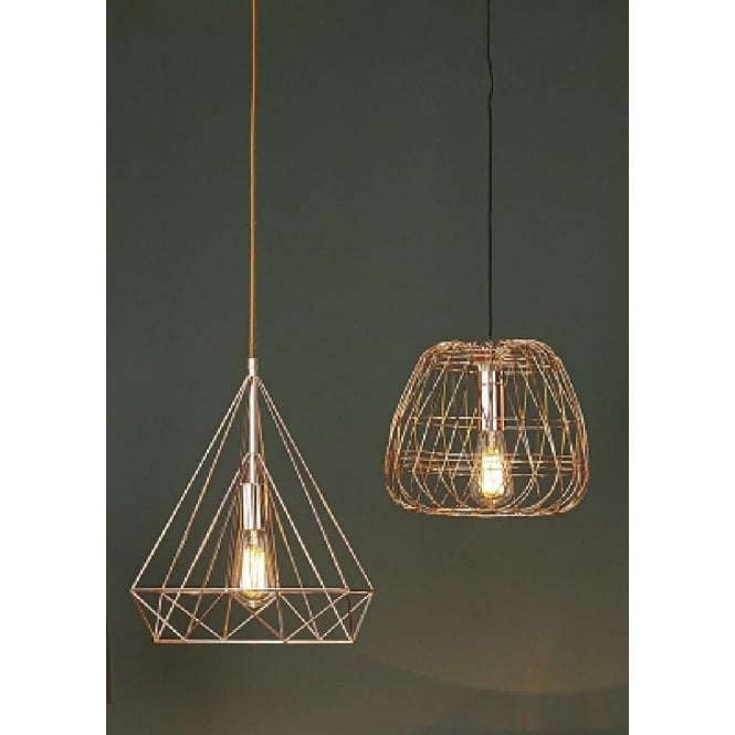 Contemporary ceiling pendant light with geometric copper wire shade woven ceiling pendant light with open copper wire frame aloadofball Gallery